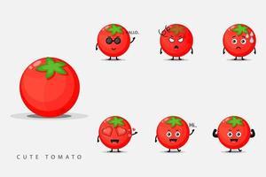 ensemble de mascotte de tomate mignonne vecteur