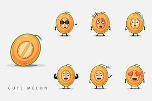 ensemble de melons de caractère mignon vecteur
