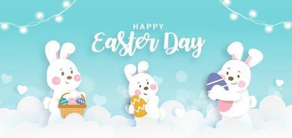 bannière de jour de Pâques avec des lapins mignons et des oeufs de Pâques en papier découpé. vecteur