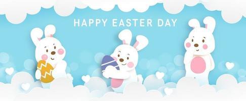 bannière de jour de pâques avec oeuf mignon lapin abd eester. vecteur