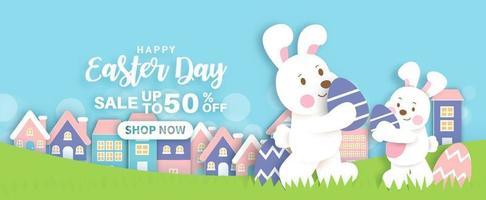 fond de vente de jour de pâques et bannière avec des lapins mignons et des oeufs de pâques. vecteur
