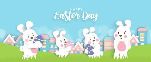 bannière de jour de Pâques avec des lapins mignons et des oeufs de Pâques. vecteur