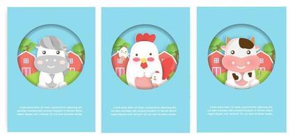 ensemble de cartes d'animaux de ferme avec jolie maison, poulets et vache pour cartes d'anniversaire. vecteur