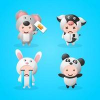 mascotte animale mignonne avec diverses expressions vecteur