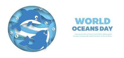 bannière de la journée mondiale des océans avec un dauphin mignon dans un style papier découpé. vecteur