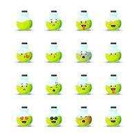 jolie bouteille de potion avec jeu d'émoticônes vecteur