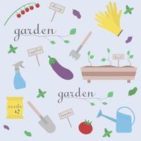 jardinage seamless pattern.vector illustration d'éléments de jardin et de légumes. vecteur