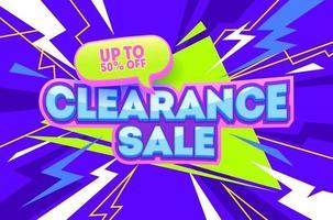 Bannière violette de vente de liquidation. coupon de promotion abstraite. vente bannière 50 off vector