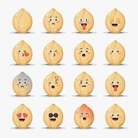 ensemble de cacahuètes mignonnes avec des émoticônes vecteur