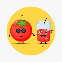 mascotte mignonne de tomate et jus de tomate se tenant la main vecteur