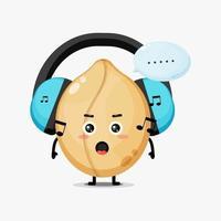 mascotte mignonne d'arachide écoutant de la musique vecteur
