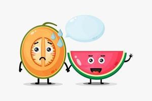 mascotte mignonne de melon et pastèque se tenant la main vecteur