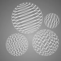 éléments de wireframe de sphères vecteur