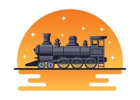 Locomotive avec fond de coucher de soleil vecteur