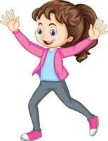 fille poussant les mains vers le haut de personnage de dessin animé de danse isolé vecteur