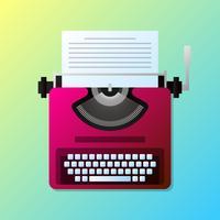 Machine à écrire élégante Vintage manuel avec Illustration de la liste de papier vecteur