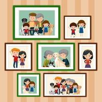 ensemble de photos de famille heureuse dans le style de dessin animé de cadres vecteur