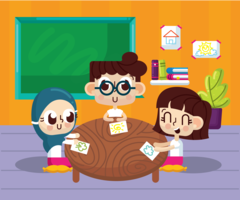Salle de classe avec enfants vecteur