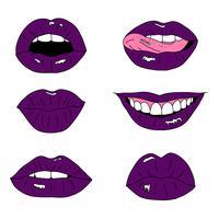 Collection de lèvres dessinées à la main vecteur