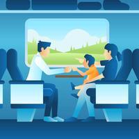 Vacances en famille dans le train vecteur