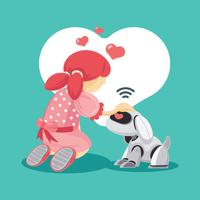 Fille de communication avec son animal de compagnie Droid vecteur