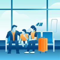 Vacances en famille à l'aéroport vecteur