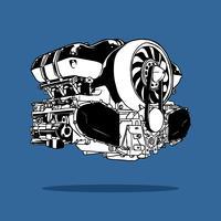 Vecteur de dessin de moteur de voiture