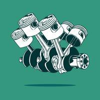 Vecteur de dessin de moteur de voiture à piston