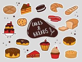 autocollants colorés de pain et de gâteau dessinés à la main vecteur