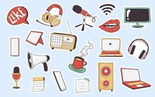 collection d'autocollants d'éléments de podcast dessinés à la main
