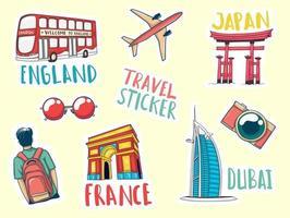 collection d'autocollants de voyage dessinés à la main colorés vecteur