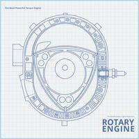 Illustration de dessin de moteur de voiture rotative. vecteur