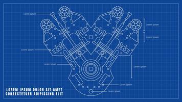 Beaux vecteurs de dessin de moteur de voiture vecteur