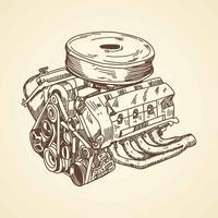 Dessin de moteur de voiture vecteur