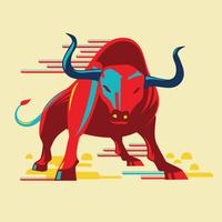 Angry Bull plat Style vecteur