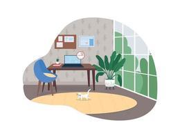 espace de bureau à domicile bannière web vecteur 2d, affiche
