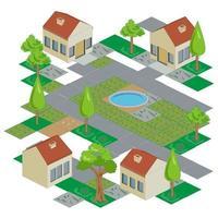 illustration isométrique du logement et de la résidence