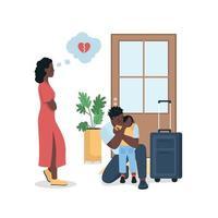 famille afro-américaine en conflit plat couleur vecteur caractères détaillés