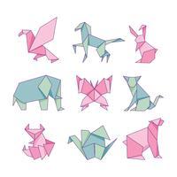 Jeu de papier origami animaux isolé sur fond blanc vecteur