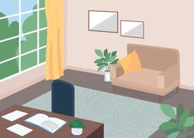salle d & # 39; étude avec illustration vectorielle de bureau couleur plat vecteur
