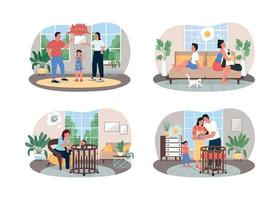 parents et enfants conflit bannière web vecteur 2d, ensemble d & # 39; affiches