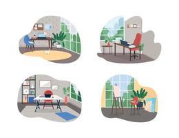 Bannière web vecteur 2d studio de travail à domicile, ensemble d'affiche