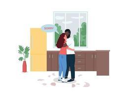 couple constituant des personnages détaillés de vecteur de couleur plate