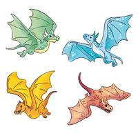 Collection de dragons mignons vecteur