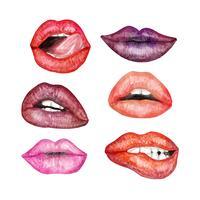 Collection de lèvres réalistes vecteur