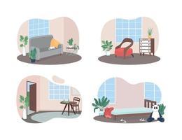 Bannière web de vecteur 2d intérieur de chambres familiales, ensemble d & # 39; affiches