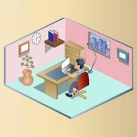 illustration du poste de travail isométrique vecteur