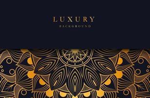 fond de luxe avec ornement de mandala islamique or sur une surface sombre vecteur