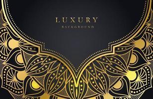 fond de luxe avec ornement arabesque islamique or scintillant sur une surface sombre vecteur