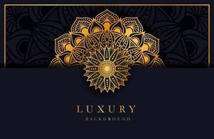 fond de luxe avec ornement arabesque islamique or sur une surface sombre vecteur